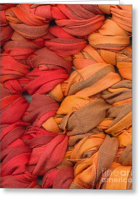 Shade Tapestries - Textiles Greeting Cards - Closeup of crochet rag rug Greeting Card by Kerstin Ivarsson
