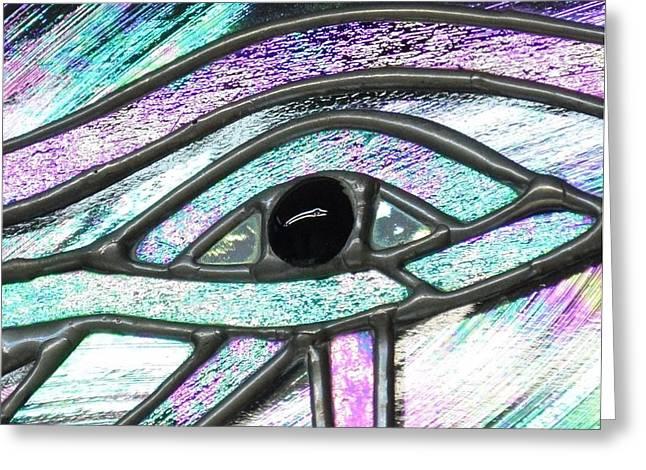 Horus Glass Art Greeting Cards - Eye of Horus Greeting Card by Rosalind Duffy