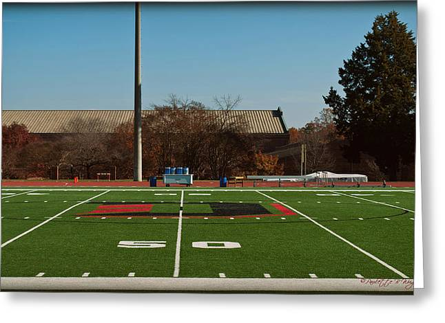 Corporate Elites Greeting Cards - Closeup of Fifty Yard Line at Richardson Stadium Greeting Card by Paulette B Wright