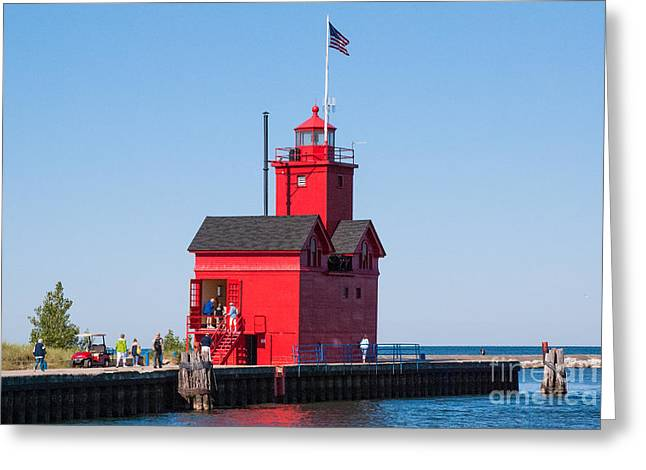Geobob Greeting Cards - Closeup of Historic Red Lighthouse Holland State Park Lake Michigan Greeting Card by Robert Ford