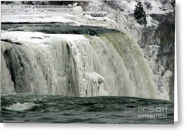 Santuci Greeting Cards - Closeup of Icy Niagara Falls Greeting Card by Rose Santuci-Sofranko