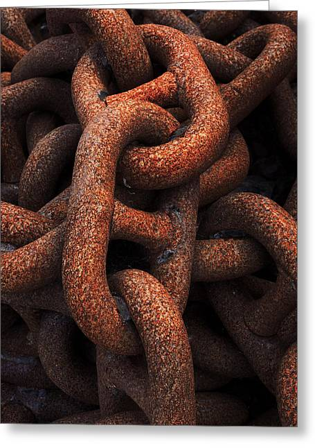 Rusted Greeting Cards - Closeup Of Metallic And Rusty Chains Greeting Card by Mikel Martinez de Osaba