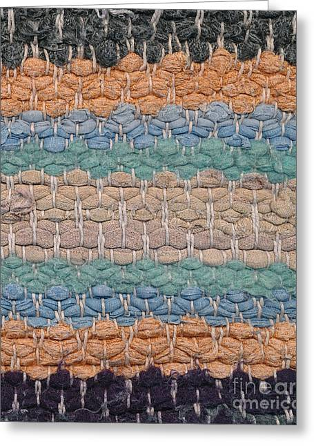 Brown Tapestries - Textiles Greeting Cards - Closeup of old rag rug Greeting Card by Kerstin Ivarsson