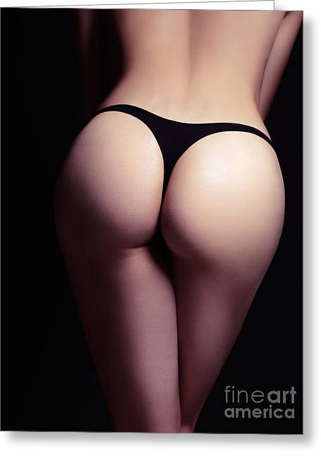 Half Naked Greeting Cards - Closeup of sexy woman butt in black thongs Greeting Card by Oleksiy Maksymenko