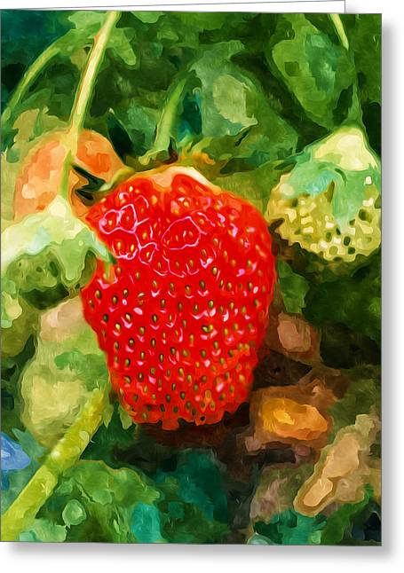 Spring Greeting Cards - Closeup of strawberries  Greeting Card by Lanjee Chee