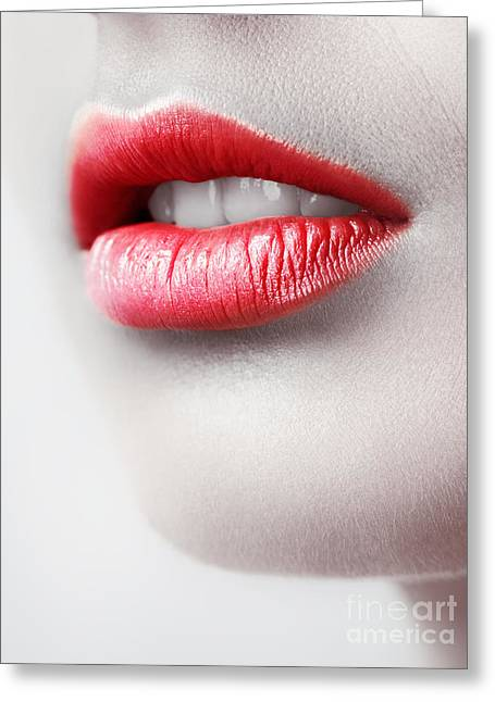 Closeup Of Young Woman Red Lips Greeting Card by Oleksiy Maksymenko