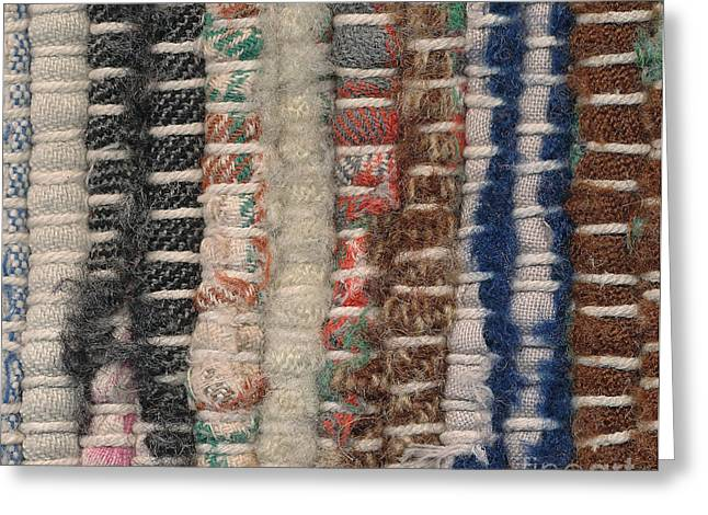 Old Tapestries - Textiles Greeting Cards - Closeup old woven rag rug Greeting Card by Kerstin Ivarsson