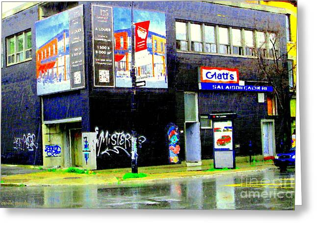 Local Food Paintings Greeting Cards - Closing Time Montreal Factory Glatts Produits Quebec Meats Graffiti Art City Scenes Carole Spandau Greeting Card by Carole Spandau