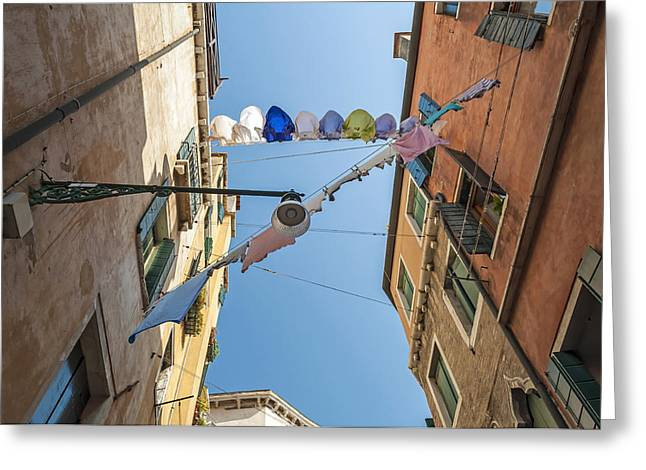 Hanging Laundry Greeting Cards - Cloth drying rope. Greeting Card by Fernando Barozza
