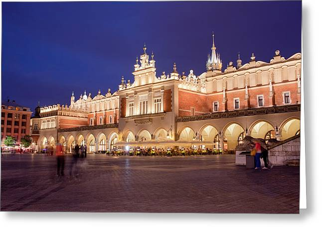 Polish Old Town Greeting Cards - Cloth Hall in the Old Town of Krakow at Night Greeting Card by Artur Bogacki