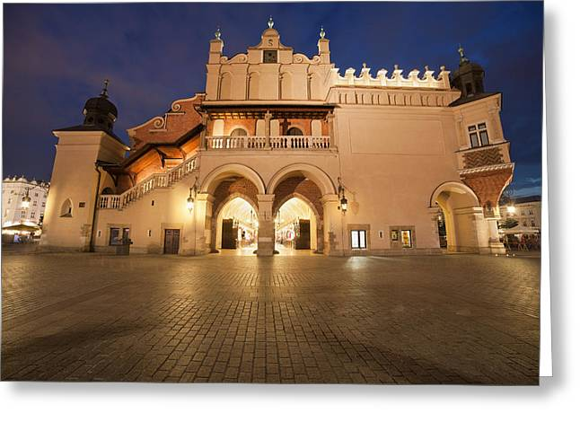 Polish Old Town Greeting Cards - Cloth Hall Side View at Night in Krakow Greeting Card by Artur Bogacki