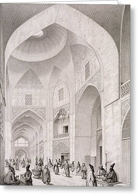 White Cloth Paintings Greeting Cards - Cloth Market in Isfahan Greeting Card by Pascal Xavier Coste