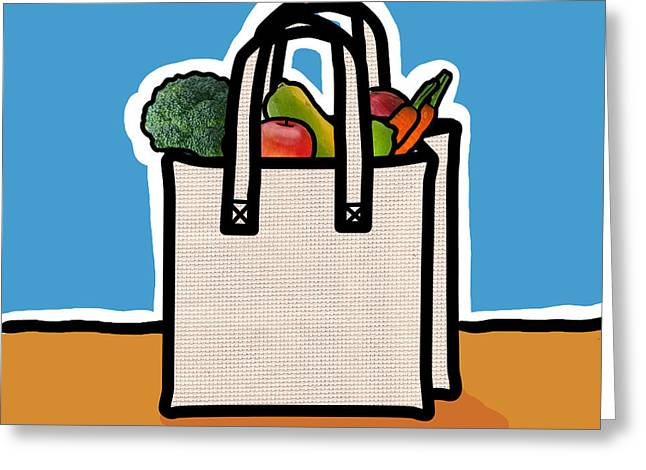 Shopping Bag Greeting Cards - Cloth Shopping Bag With Vegetables Greeting Card by Yuriko Zakimi