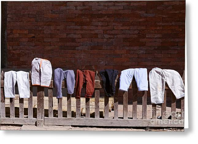 Drying Laundry Greeting Cards - Clothes drying in Durbar Square in Patan Nepal Greeting Card by Robert Preston
