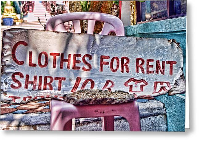 Cardboard Greeting Cards - Clothes for Rent Greeting Card by Linda Phelps