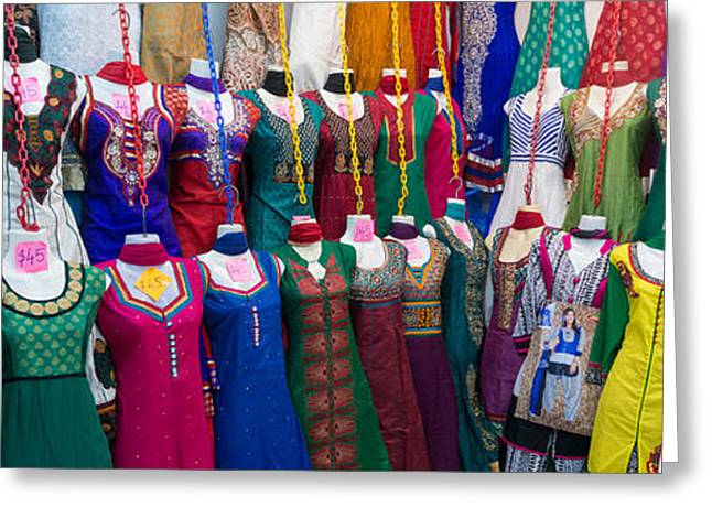 No Clothing Greeting Cards - Clothes For Sale At Tekka Market Greeting Card by Panoramic Images