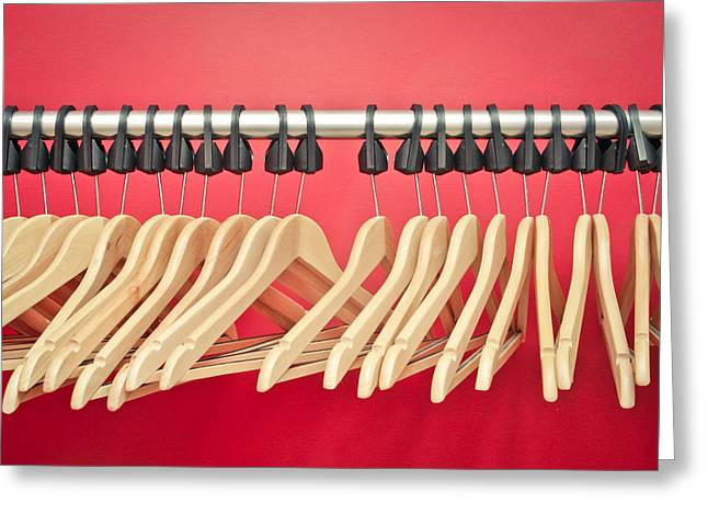 Rack Greeting Cards - Clothes hangers Greeting Card by Tom Gowanlock