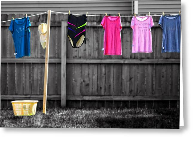 Photography By Thomas Woolworth Greeting Cards - Clothes Line Selective Coloring Digital Art Greeting Card by Thomas Woolworth