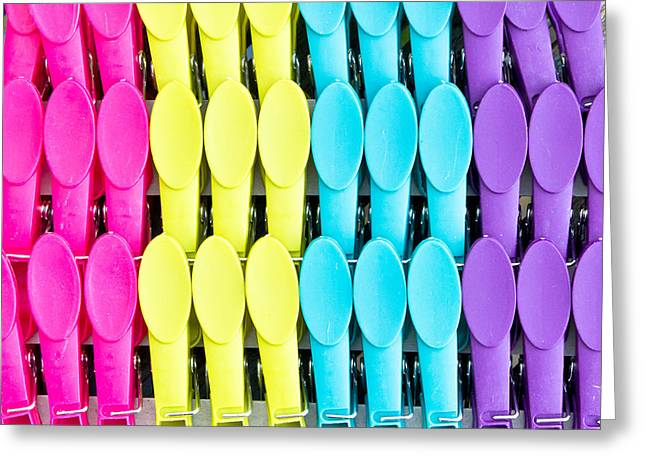Clothes Pegs Greeting Card by Tom Gowanlock