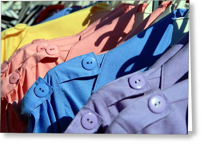 Clothes Street Sale Greeting Card by Valentino Visentini