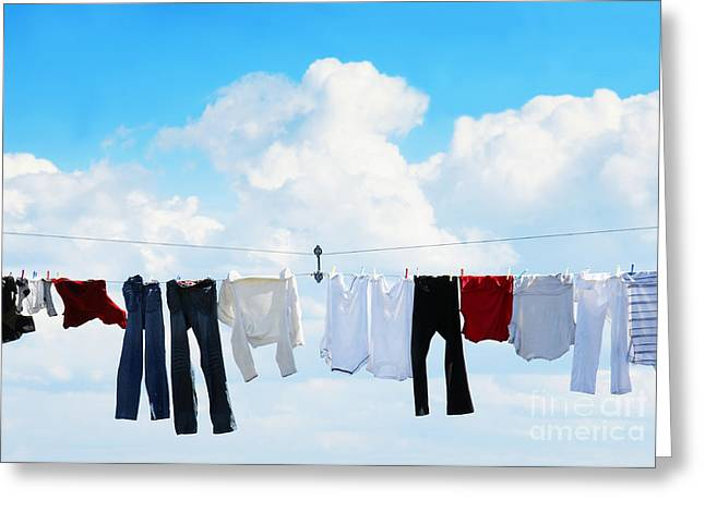 Polo Shirts Greeting Cards - Clothesline and blue sky Greeting Card by Sylvie Bouchard