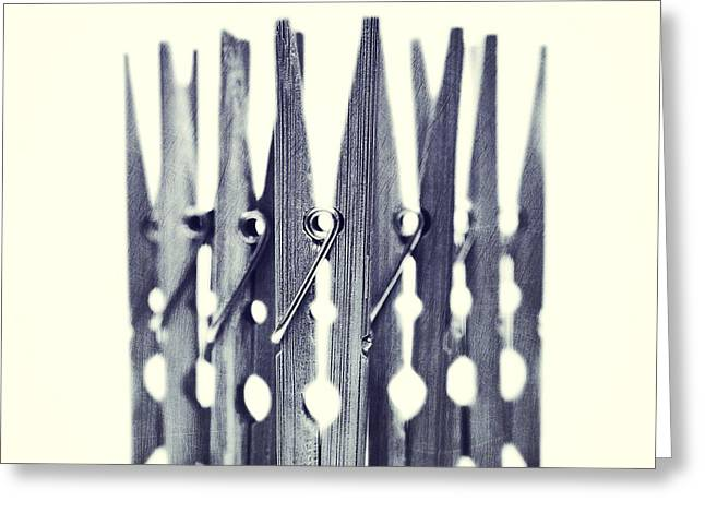 Monochrome Greeting Cards - Clothespin Greeting Card by Priska Wettstein