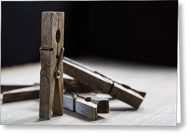 Clip Greeting Cards - Clothespins Greeting Card by Edward Fielding