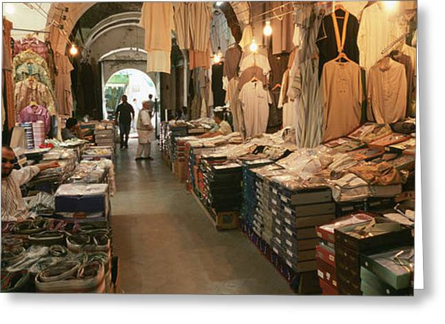 Waist Up Greeting Cards - Clothing Stores In A Market, Souk Greeting Card by Panoramic Images