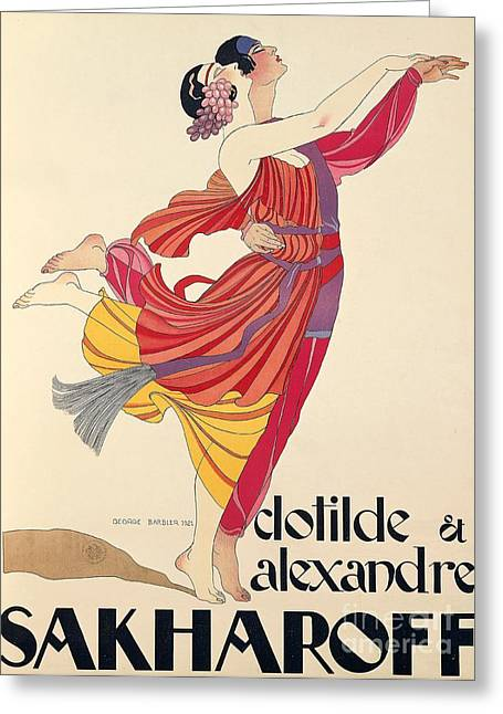 Texting Drawings Greeting Cards - Clotilde and Alexandre Sakharoff Greeting Card by George Barbier