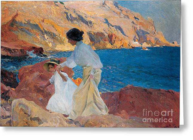 Blue Sea Print Greeting Cards - Clotilde and Elena on the Rocks Greeting Card by Joaquin Sorolla y Bastida