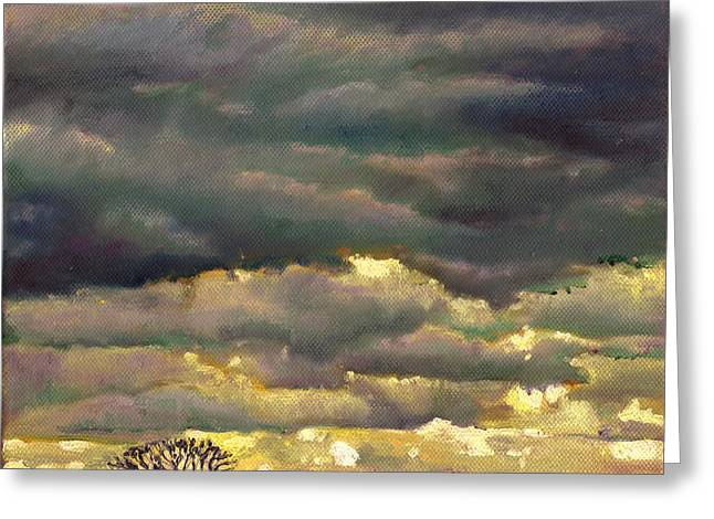 Dark Skies Paintings Greeting Cards - Cloud burst Greeting Card by Helen White