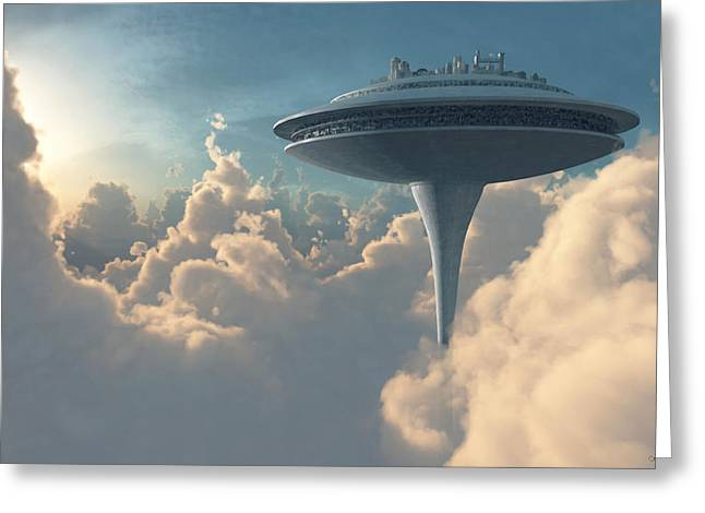 Scifi Digital Greeting Cards - Cloud City Greeting Card by Cynthia Decker