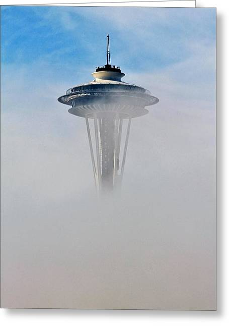 Urban Space Greeting Cards - Cloud City Needle Greeting Card by Benjamin Yeager