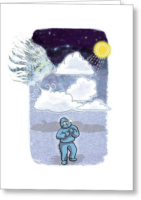 Hypothesis Greeting Cards - Cloud cover climate change, artwork Greeting Card by Science Photo Library