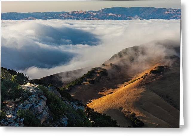 Livermore Greeting Cards - Cloud Covered Valley Greeting Card by Marc Crumpler