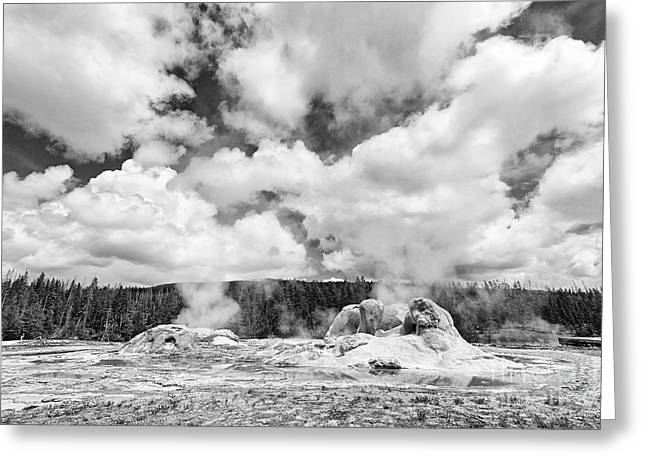 Boiling Greeting Cards - Cloud Creators - Twin geysers steaming under a dramatic sky in Yellowstone National Park. Greeting Card by Jamie Pham