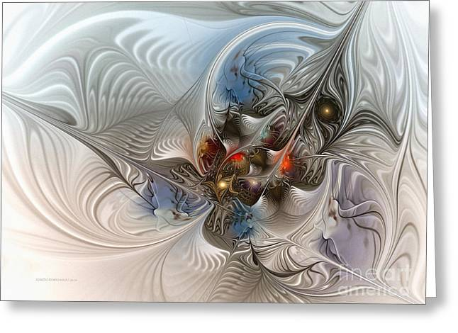 Large Sized Greeting Cards - Cloud Cuckoo Land-Fractal Art Greeting Card by Karin Kuhlmann