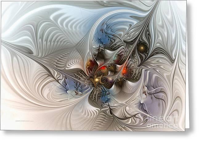Cloud Cuckoo Land-Fractal Art Greeting Card by Karin Kuhlmann
