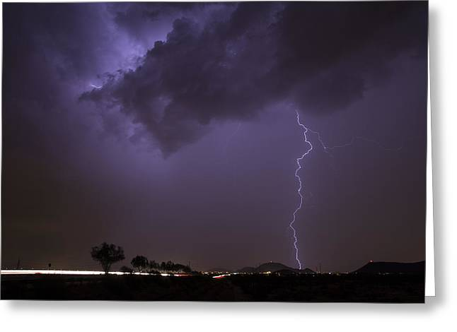 Arizona Lightning Greeting Cards - Cloud Dancer Greeting Card by Cathy Franklin