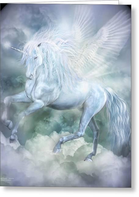 Unicorn Cloud Dancer Greeting Card by Carol Cavalaris