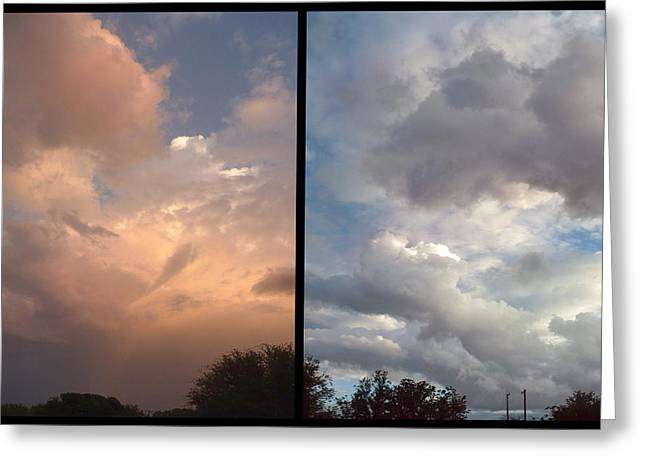 Storm Digital Greeting Cards - Cloud Diptych Greeting Card by James W Johnson