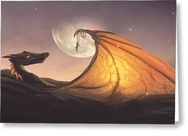 Clouds Posters Greeting Cards - Cloud Dragon Greeting Card by Cassiopeia Art