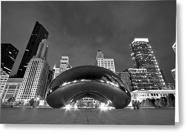 Black Greeting Cards - Cloud Gate and Skyline Greeting Card by Adam Romanowicz