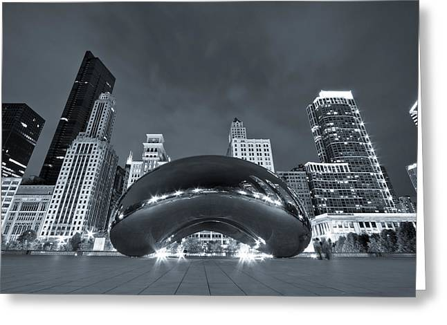 Millennium Park Greeting Cards - Cloud Gate and Skyline - Blue Toned Greeting Card by Adam Romanowicz