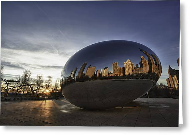 The Bean Greeting Cards - Cloud Gate at Sunrise Greeting Card by Sebastian Musial