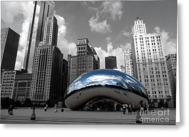 The Bean Greeting Cards - Cloud Gate B-W Chicago Greeting Card by David Bearden