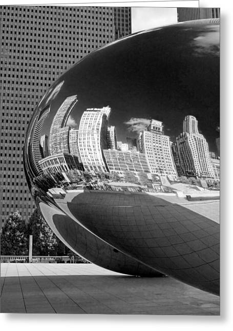 Chicago Reflections Greeting Cards - Cloud Gate Bean Black and White Greeting Card by Christopher Arndt