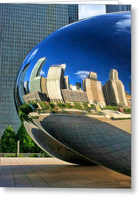Chicago Reflections Greeting Cards - Cloud Gate Bean Greeting Card by Christopher Arndt
