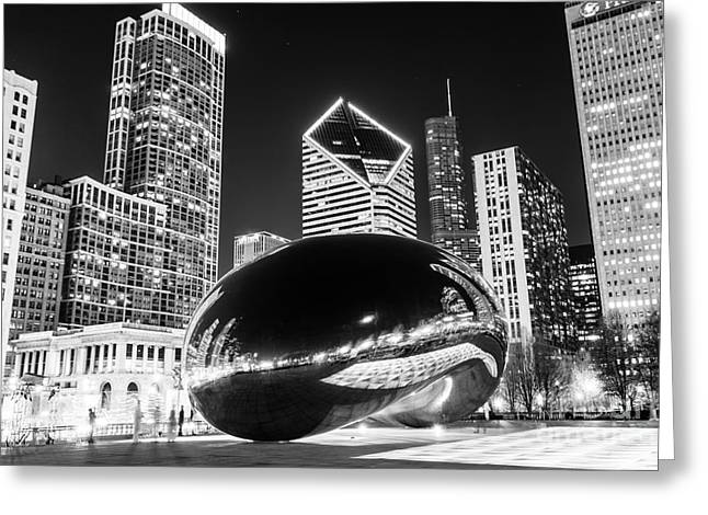 Bean Greeting Cards - Cloud Gate Chicago Bean Black and White Picture Greeting Card by Paul Velgos
