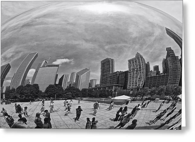 Stainless Steel Greeting Cards - Cloud Gate Feet Up BW Greeting Card by Thomas Woolworth